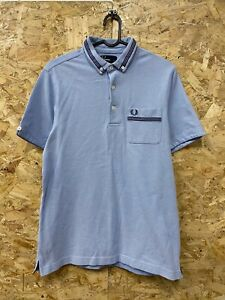 Pour-homme-FRED-PERRY-TWIN-TIPPED-Pique-Polo-Shirt-taille-Medium-M-Bleu-Bordeaux