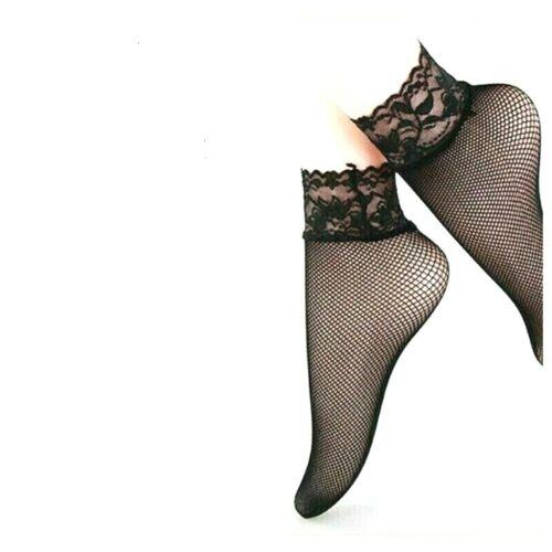 1 PAIRE CHAUSSETTE SOCQUETTE FEMME EN RESILLE /& DENTELLE CHEVILLE NOIR T 35-40