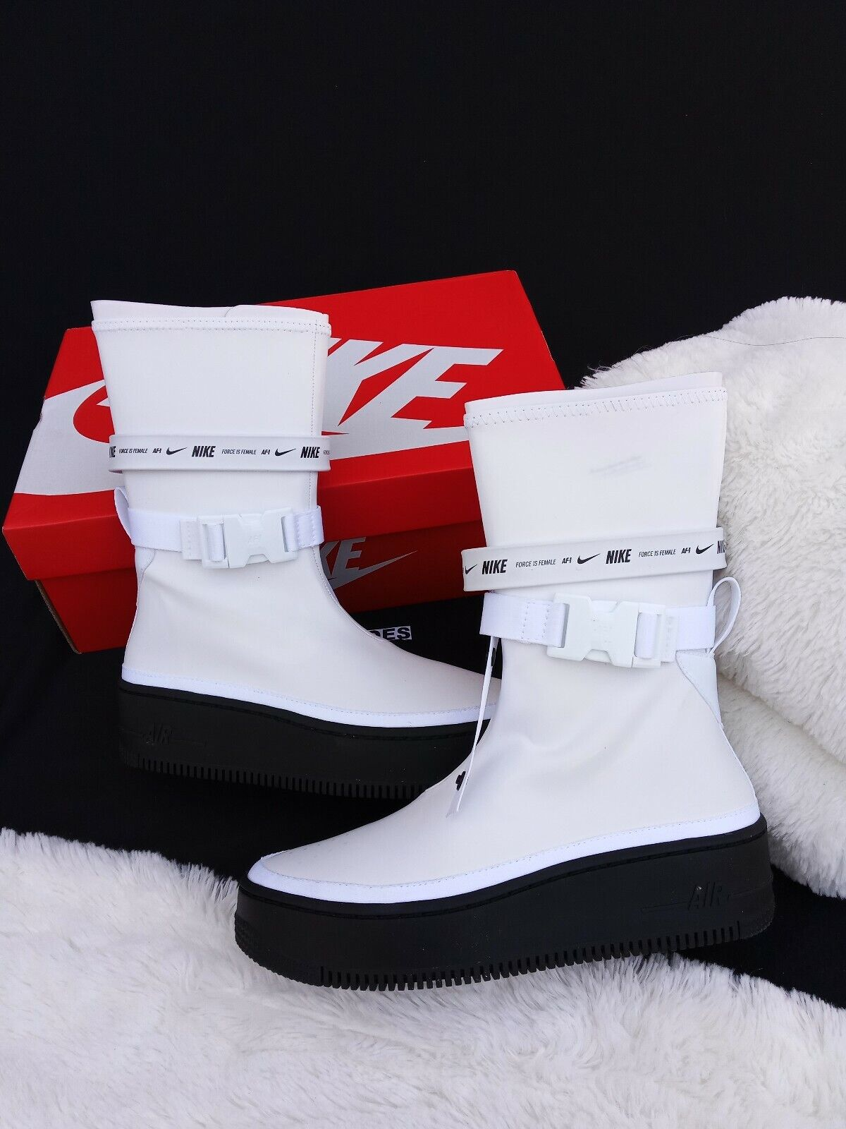 SIZE 6.5 NIKE Womens AF1 Air Force 1 Sage Hi High Boot White Black AQ2771 100