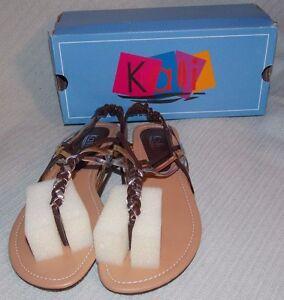 NIB-Women-039-s-Kali-Brown-Multi-034-TWIST-034-Flat-Thong-Summer-Sandals