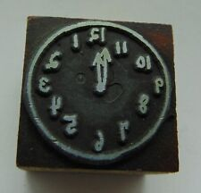 Vintage Printing Letterpress Printers Block Clock Face