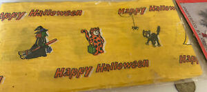 Vintage-Happy-Halloween-Paper-Twist-Ribbon-For-Wreaths-Witch-Black-Cat-Jol-Craft