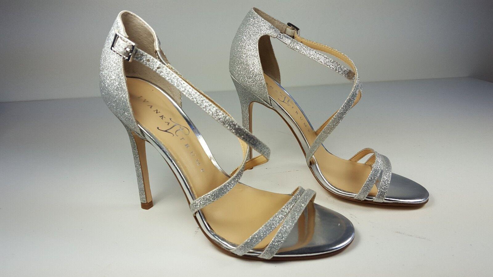 130 size 6 Ivanka Trump Duchess 2 Silver Strappy Open Toe Heels Sandals NEW