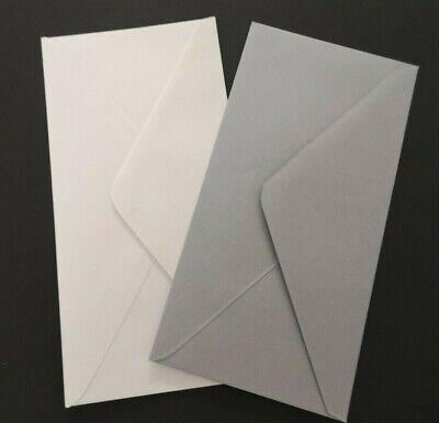 DL  TRIFOLD PLAIN WHITE CARD BLANKS /& WHITE ENVELOPES    110mm x 220mm