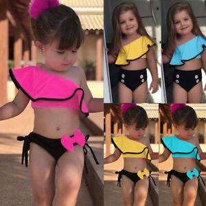 Toddler-Infant-Kid-Baby-Girls-Solid-Ruffles-Swimwear-Swimsuit-Bikini-Outfits-Set
