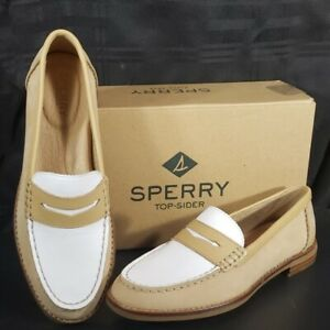 Sperry-Top-Sider-Women-Seaport-Tri-Tone-Penny-Loafer-Tan-White-Women-039-s-Size-6-5