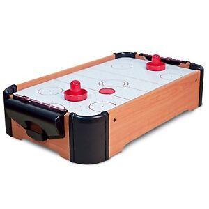 TABLE TOP AIR HOCKEY WOODEN MINI DESKTOP RETRO ARCADE GAME XMAS GIFT TOY KIDS