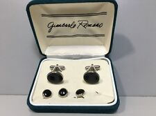 Giancarlo Romano Formal Cufflink & Stud Set- Silver and Onyx in Original Box