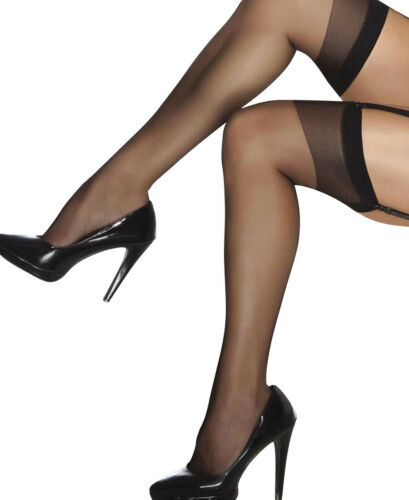 Details about  /Black Plus Size Sheer Thigh High Stockings Coquette 1706X