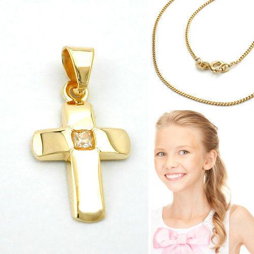 Kinder Kreuz Echt Gold 333 mit Zirkonia und Kette Silber 925 vergoldet 8 KT