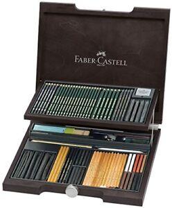 Valigia in legno mogano con 86 pezzi per Faber Castell MONOCHROME U2a