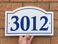 """Arched House Number Sign Address Plaque Red//White 1//4/"""" King ColorCore Engraved"""