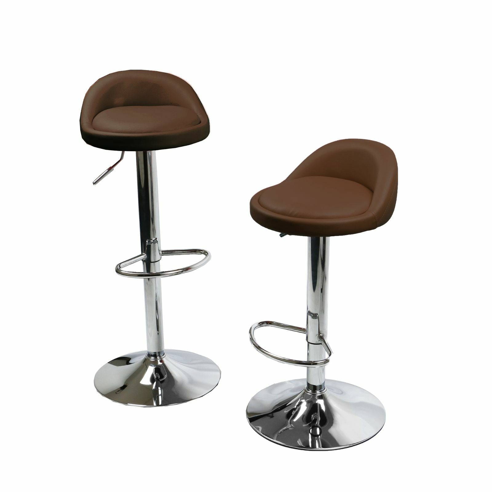 1 Pair Leather Metal Bar Stools Swivel Dinning Counter