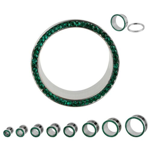 "PAIR-Crystal Emerald Gems Steel Screw On Ear Tunnels 19mm//3//4/"" Gauge Body Jewelr"