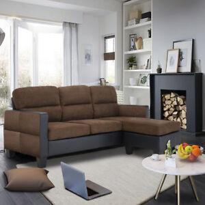 Image Is Loading Panana Leather Amp Fabric Chaise Corner Sofa Modern