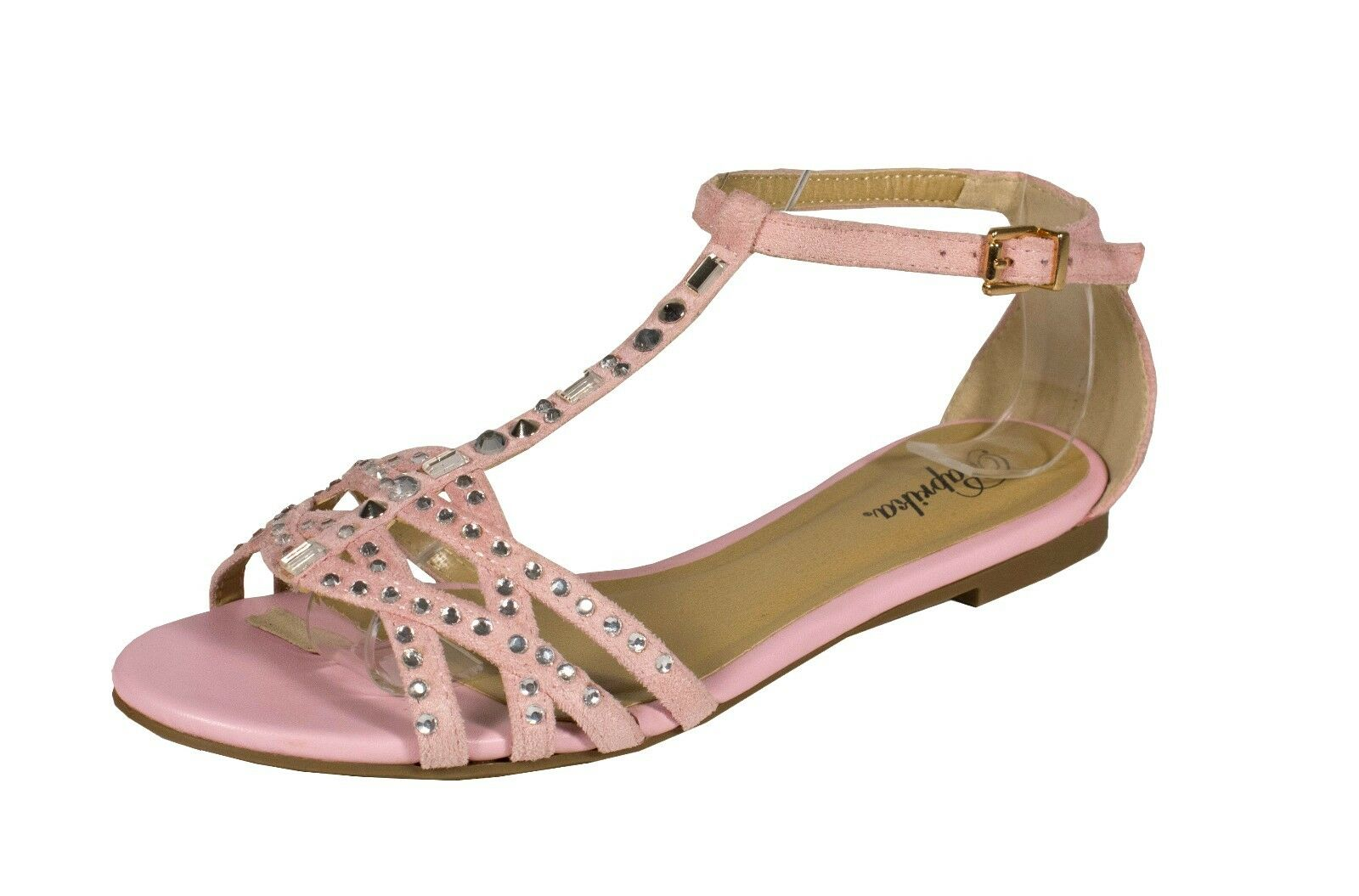 Timber! Paprika Strappy Pink Studding T-Strap Peep Toe Flat Sandal Pink Strappy Faux Suede b74e93