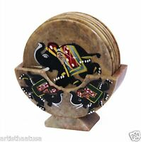 Artist Haat Set Of 6 Hand Carved Stone Bar Coaster Hand Painted Elephant Design
