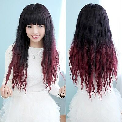 Lady LOLITA Wig Long Black+Red Curly Wavy Gradient Hair Cosplay Party Full Wigs