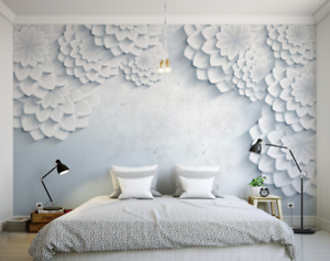 3D White Floral 7845 Wall Paper Murals Wall Print Wall Wallpaper Mural AU Kyra