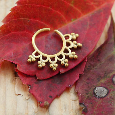 16G Floral Round Indian Septum Nose Jewelry Ornate Beaded Spiked Capture Ring US