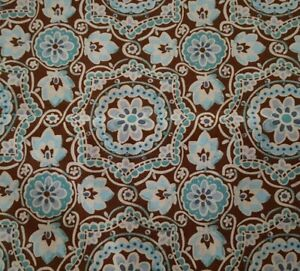 Nouveau-BTY-Unbranded-Blue-Gray-Brown-Ivory-Floral-Damask-on-Brown
