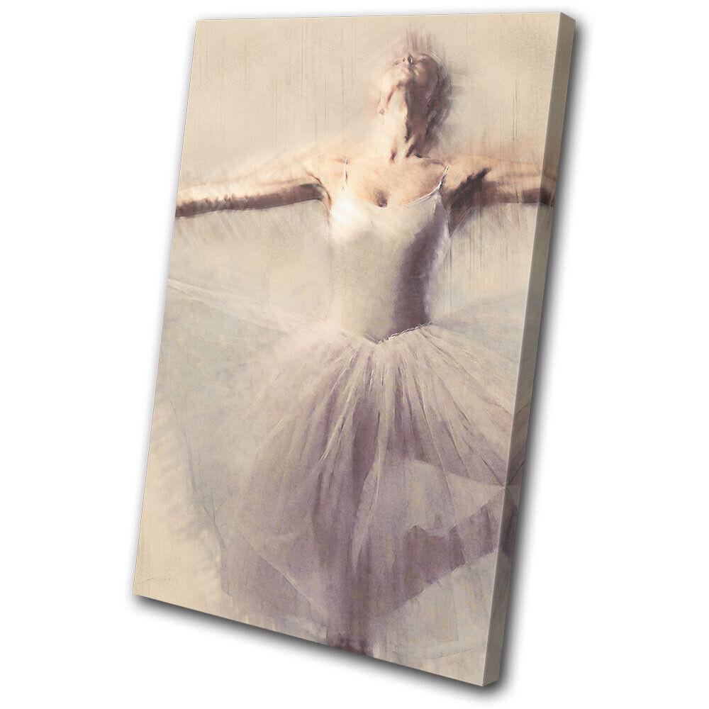 Ballerina Vintage Paint Effect Performing SINGLE TOILE murale ART Photo Print