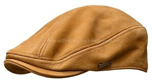 639eae84a7d STETSON TAN Leather IVY Cap Gatsby Men Newsboy Hat Golf Flat Driving ...