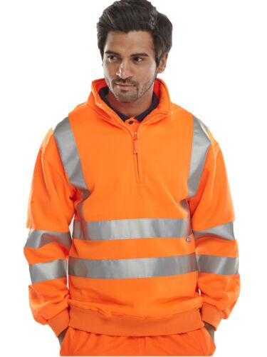 Homme Hi Vis réfléchissant quart zippé en polaire chaud Work Wear Sweat top.en471