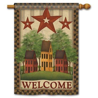 100% Kwaliteit Studio M Saltbox Houses Double Sided Standard Flag Een Lang Historisch Aanzien Hebben