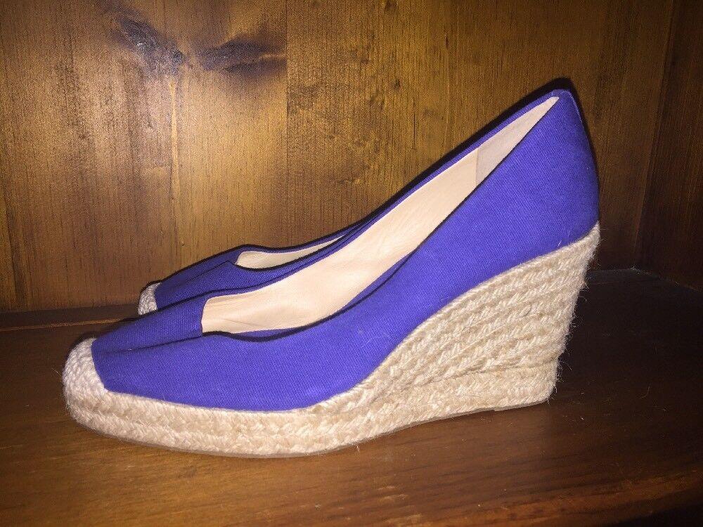J CREW Cobalt Blue Wedges Platforms Pumps High Heels SEXY Womens Size 7