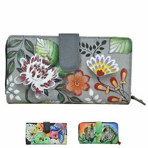 Anuschka Hand Painted Leather Womens Clutch Wallet