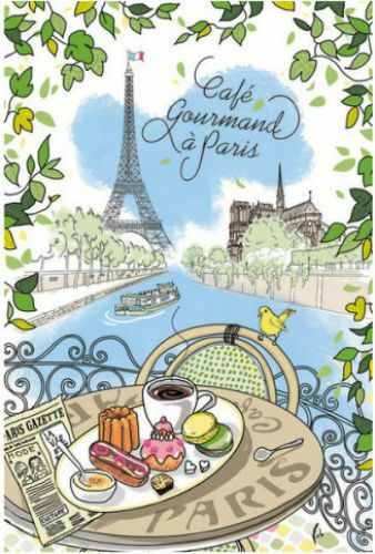 French Kitchen Dish//Tea Towel Paris Cafe /& Monuments 100/% Cotton Made In France