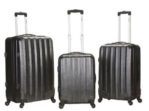 Rockland-3-Piece-Metallic-Polycarbonate-Abs-Upright-Set-F185-CARBON-luggage-NEW
