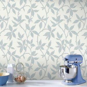 Superfresco Elisa Leaf Trail Print Duck Egg Metallic Wallpaper Ebay