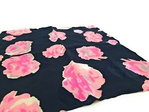 BRIONI-Floral-Silk-Pocket-Square-Hand-Rolled-LKNWOT-Midnight-Blue-Pink-Flowers