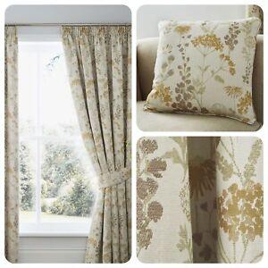Curtina-BERRINGTON-Ochre-Floral-Pencil-Pleat-Curtain-Cushions-Collection