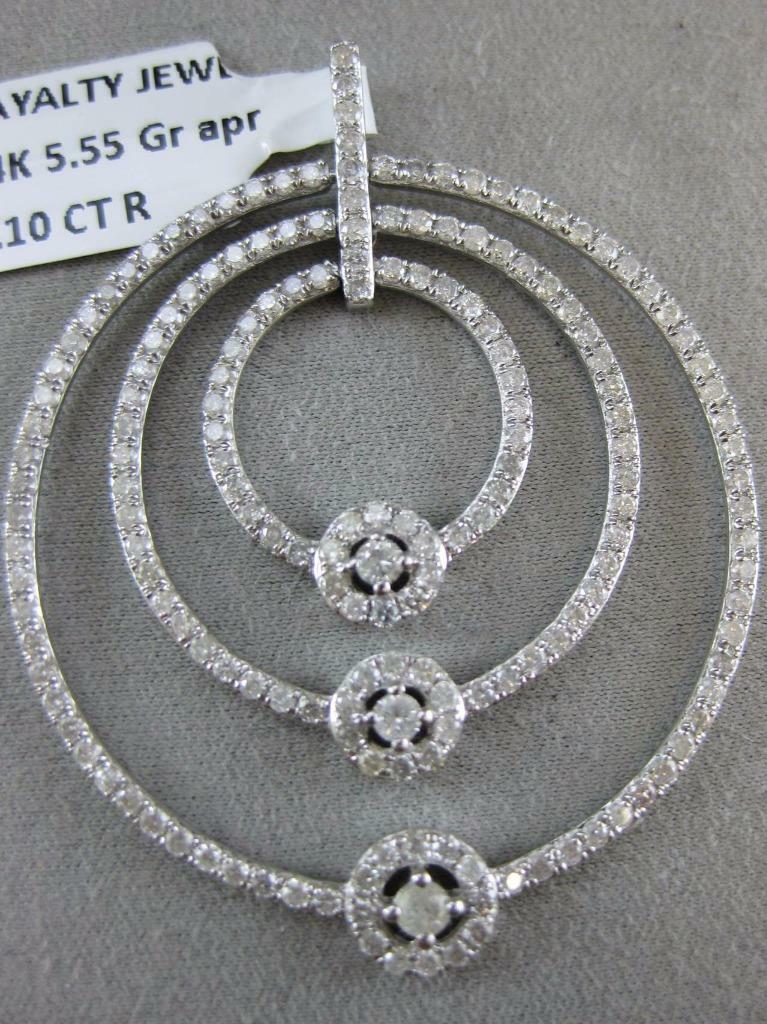MODERN PAVE DIAMOND 14K WHITE gold CIRCLE IN CIRCLE STUDED HALO PENDANT P54090WP