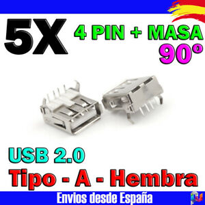 5x-USB-Hembra-para-soldar-Tipo-A-2-0-90-conector-PCB-para-soldadura-prototipos