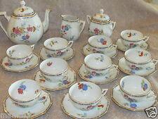 Service à thé tasse Art Déco en porcelaine Limoges décor floral