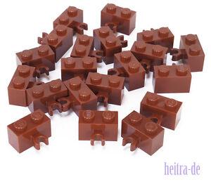 LEGO-20-x-Stein-mit-O-Clip-waagerecht-1x2-braun-30237b-NEUWARE
