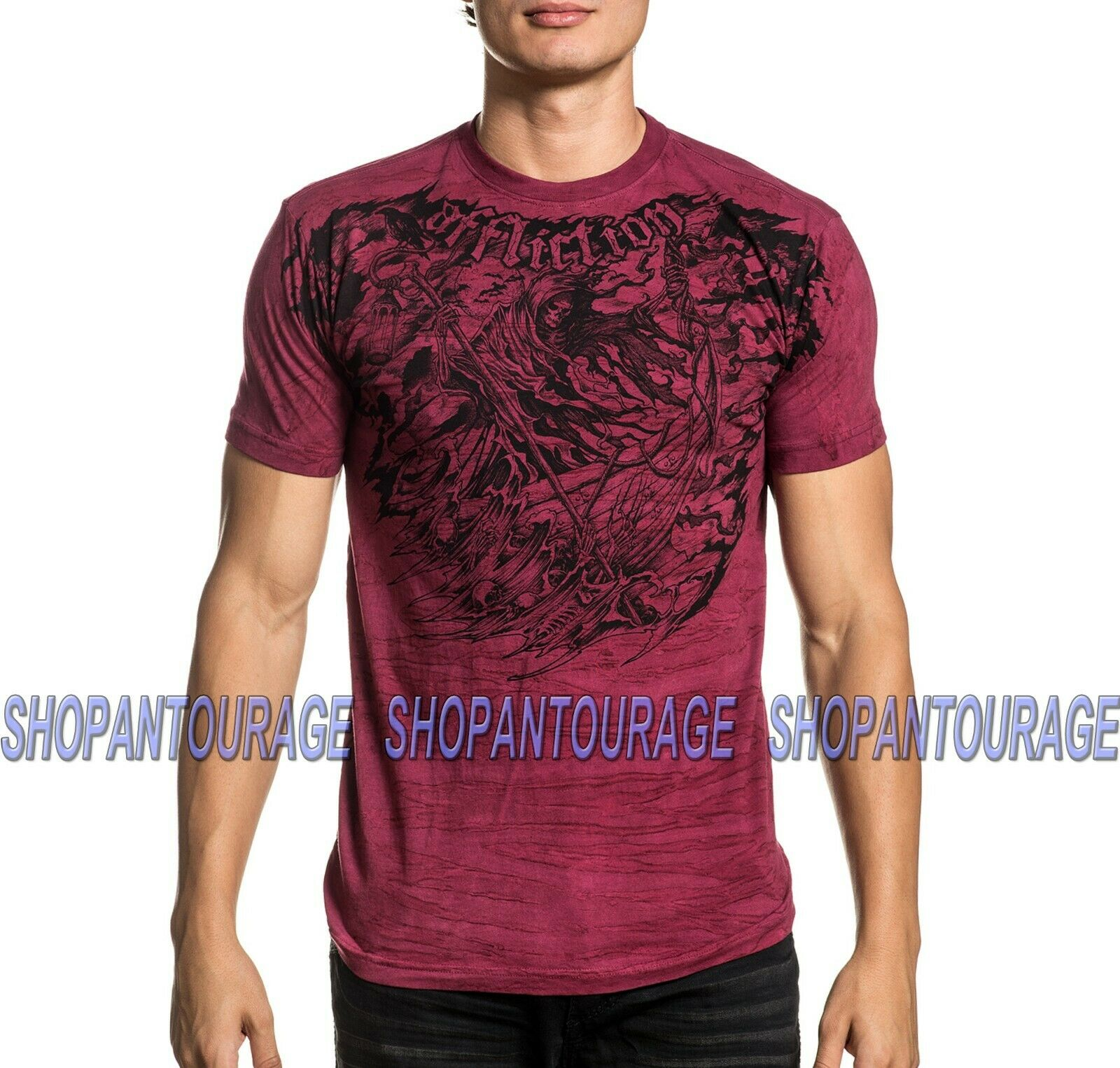 Affliction River Styx A20894 New Short Sleeve Fashion Graphic T-shirt For Men