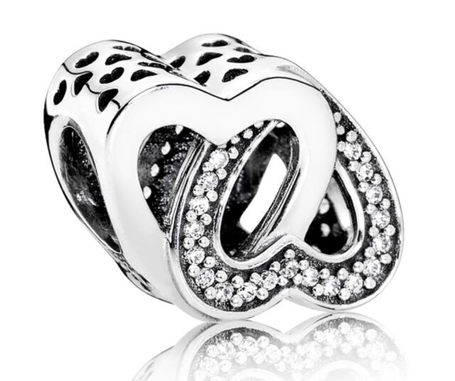 dc60ba05f New Authentic Pandora Sterling Silver Entwined Love Hearts Charm 791880CZ