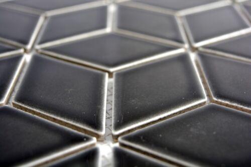 Mosaïque Carreau Céramique Noir 3d Cube Uni Noir brillant wb13ov-0301