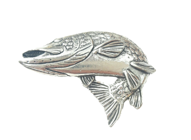Turning Pike Fish Handcrafted from English Pewter in the UK Lapel Pin Badge