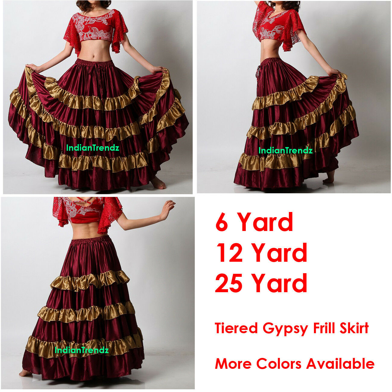 Maroon   golden Satin 6 12 25 Yard Tiered Gypsy Frill Skirt Belly Dance Flamenco