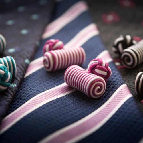Choose from 3 Bundles 3 Pairs Each Colourful Silk Barrel Knot Cufflinks