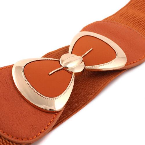 Women Faux Leather Waistband Metal Bow Buckle Elastic Stretch Belts Dress Décor