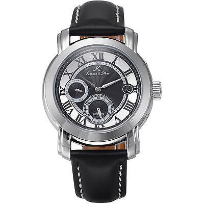 KS Men's Automatic Mechanical Black Leather Date Day White Sport Wrist Watch