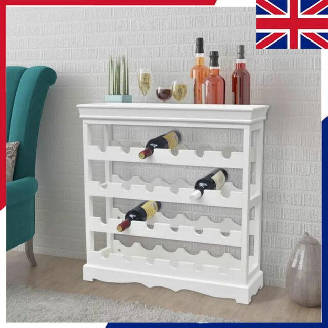 Vidaxl Wine Cabinet Abreu White Bottle Rack Drink Holder Stand Shelf Storage