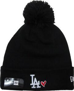 68761ce6 Los Angeles Dodgers New Era Black Heart Knit Bobble Hat 192860133827 ...